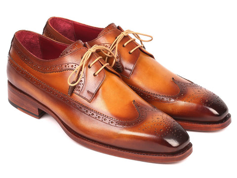 Paul Parkman Goodyear Welted, Wingtip Derby Shoes, Camel color