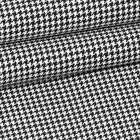 Black/White Houndstooth - Super 120, 100% Wool, Custom Suit Fabric