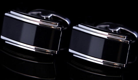 Black Enamel With Silver Casing Cuff Links