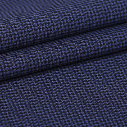 Blue/Black Grid- Super110, Custom Blazer Fabric