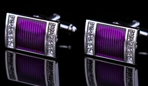 Purple Enamel Encased in Silver with Rhinestones Cuff Links