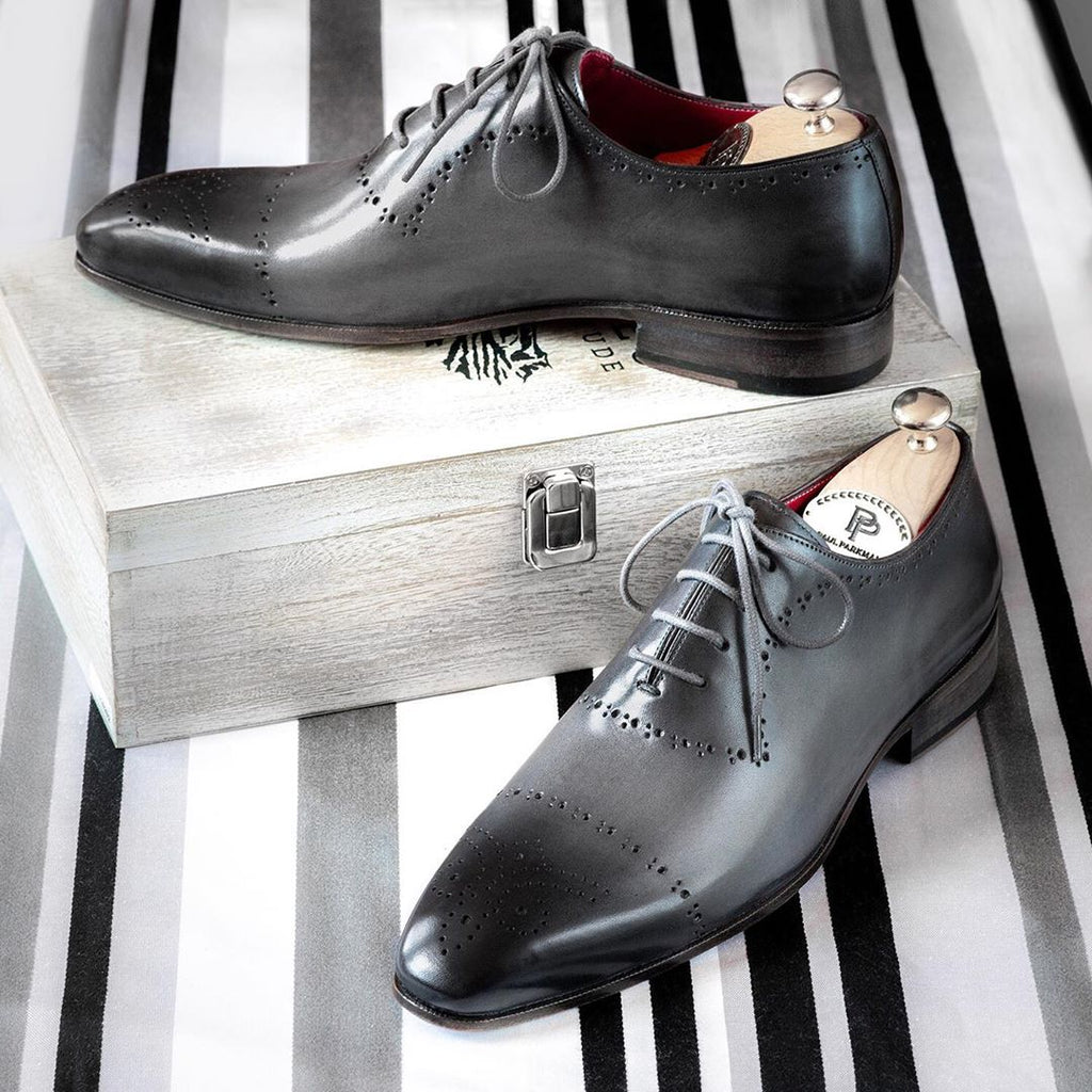 Paul Parkman Grey Hand-Painted Classic Brogues