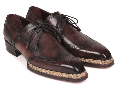 Paul Parkman Norwegian Welted, Wingtip Derby Shoes, Bronze color