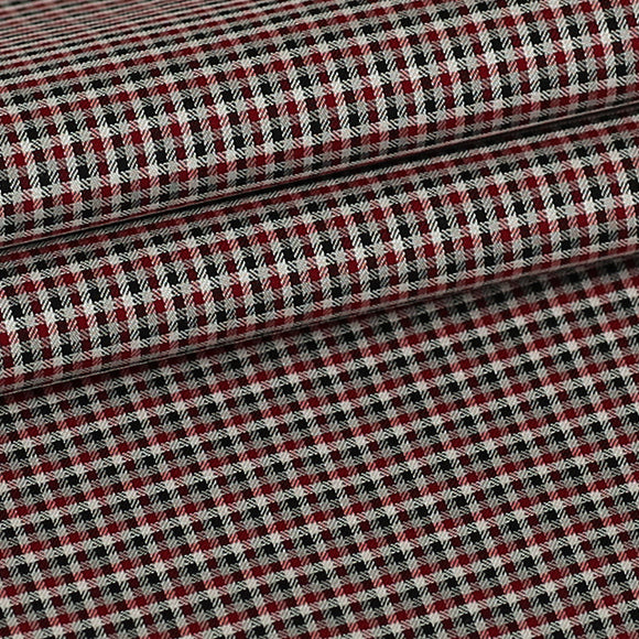 Red, Black and Grey Checks, Custom Shirt Fabric, 100% Cotton