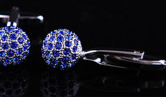 Silver Ball with Blue Crystals Cuff Links