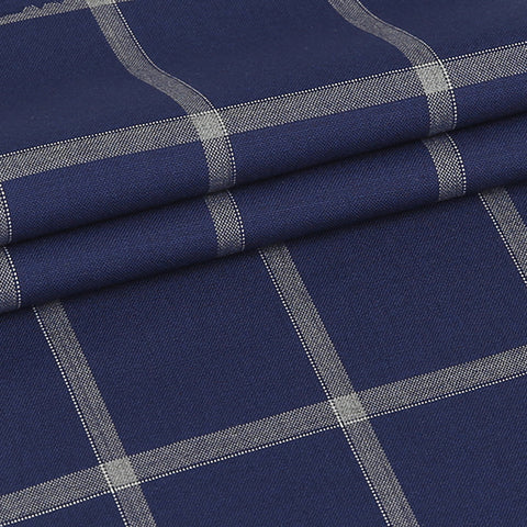 Blue Windowpane - 100% Wool, Super110