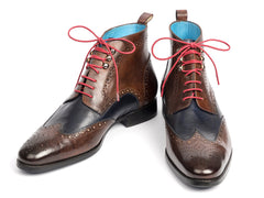 Paul Parkman Wingtip Ankle Boots, Dual Tone Brown & Blue