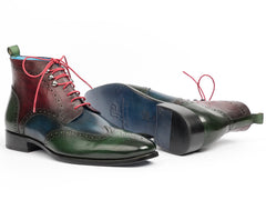 Paul Parkman Wingtip Ankle Boots, Three Tone Green Blue Bordeaux