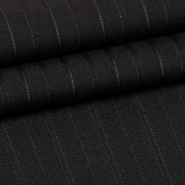 Black Pinstripes  - Super 150s, 100%  Wool, Fabric DBN788A