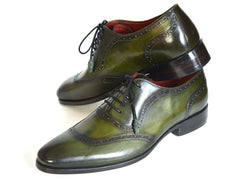 Paul Parkman Men's Green Calfskin Oxfords Shoes