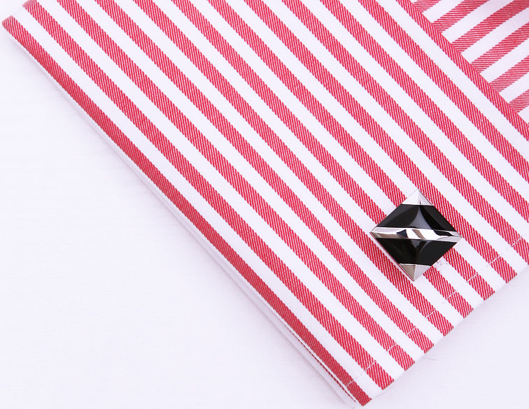 Black Enamel with Silver Stripes Cuff Links