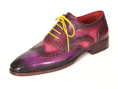 Paul Parkman Men's Wingtip Oxfords Lilac Handpainted Calfskin Shoes