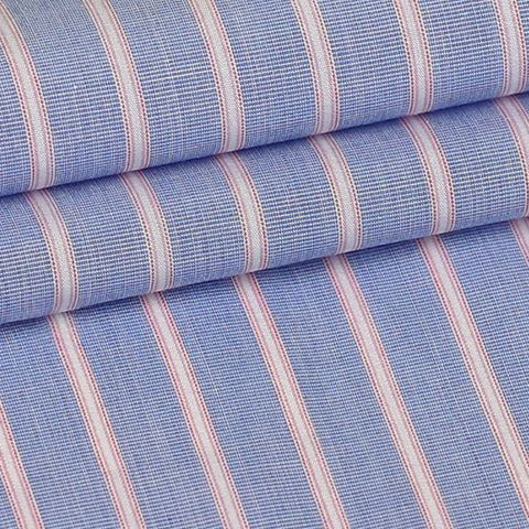 Blue w/ Pink Stripes Custom Shirt Fabric, 100% Cotton