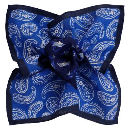 Blue Paisley and Dolphins w/ Navy Border, Printed Design, Italian Collection - 100% Silk Pocket Square
