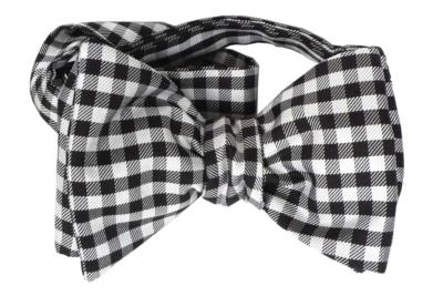 Black/White Tartan- checked Italian Collection, 100% Silk Woven Bow Tie (Self Tie)
