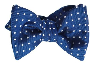 Blue with White Dots, Italian Collection, 100% Silk Woven Bow Tie (Self Tie)