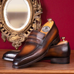 Paul Parkman Brown Burnished Goodyear Welted Loafers