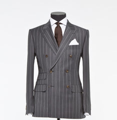 Charcoal Gray Pinstripe - Super 130s 100%  Wool