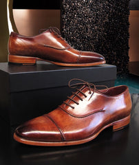 Paul Parkman Men's Captoe Brown Hand Painted Oxfords