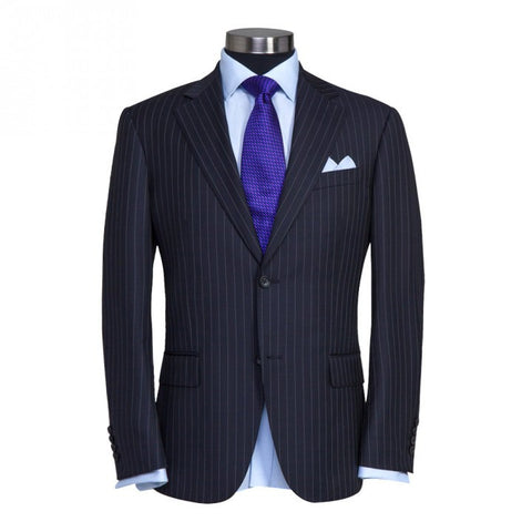 Black Pinstripe - Super 120 Wool