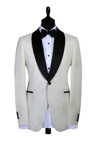 Off-White Dinner Jacket - Super 120s, 100% Wool