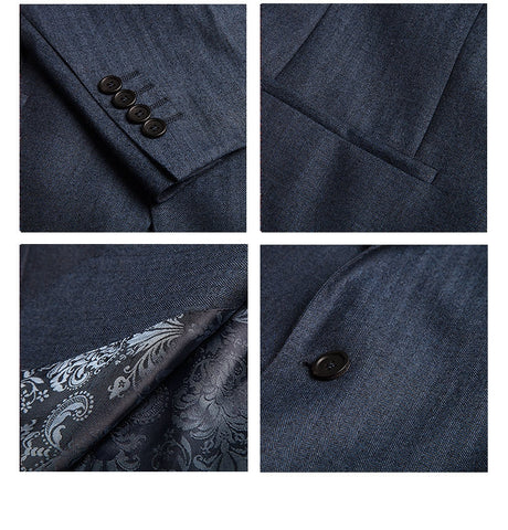 Blue Herringbone - Super 130s 100%  Wool