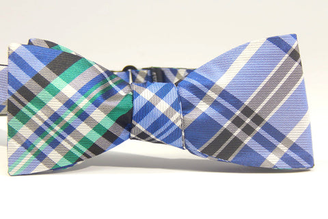 Blue, Grey and Green Plaid - 100% Silk Woven Bow Tie (Self Tie)