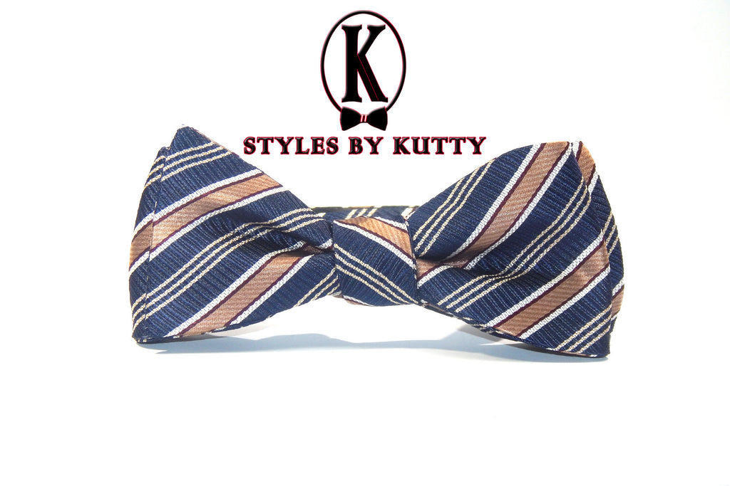 Blue and Brown Stripes - 100% Silk Woven Bow Tie (Self Tie)