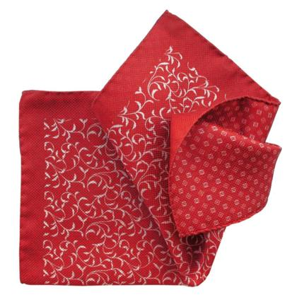 Red, Double-Printed, Italian Collection - 100% Silk Pocket Square