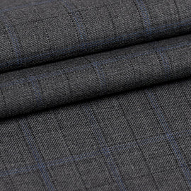 Grey Windowpane  - Super 130s, 100%  Wool, Fabric DBQ790A