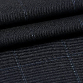 Navy Blue Windowpane  - Super 130s, 100%  Wool, Fabric DBQ787A