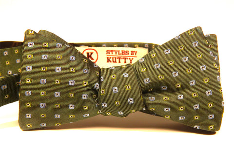 Green with Multi-colored Squares - 100% Silk Woven Bow Tie (Self Tie)