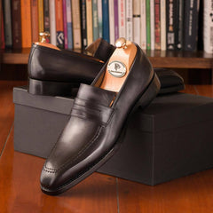 Paul Parkman Gray Burnished Goodyear Welted Loafers