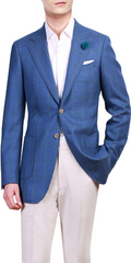 Blue Windowpane - 100% Wool