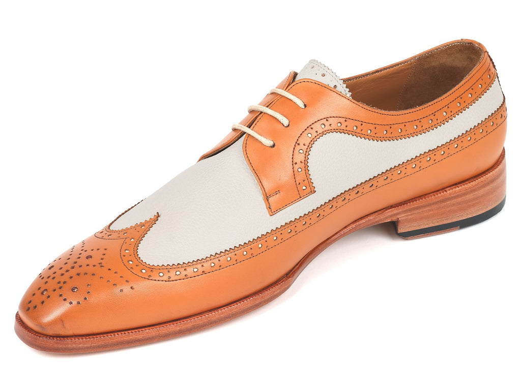 Paul Parkman Dual Tone Wingtip Derby Shoes, Cognac & Cream