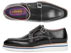 Paul Parkman Men's Casual Double Monkstrap, Black