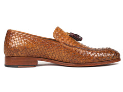 Paul Parkman Woven Leather Tassel Loafers, Camel Colour
