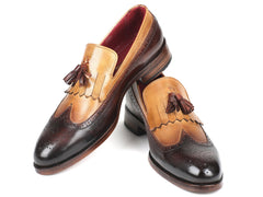 Paul Parkman Kiltie Tassel Loafer Beige & Brown