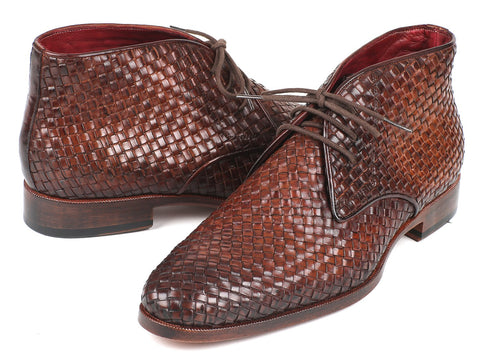 Paul Parkman Men's Brown Woven Leather Chukka Boots