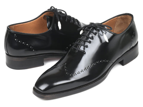 Paul Parkman Goodyear Welted Wingtip Oxfords, Black Polished Leather