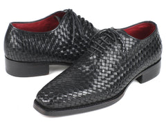 Paul Parkman Men's Black Woven Leather Oxfords