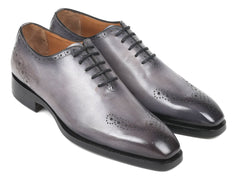 Paul Parkman Goodyear Welted, Decorative Medallions Oxfords, Hand-painted Grey