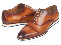 Paul Parkman Men's Smart Casual Leather Oxfords, Brown & Camel