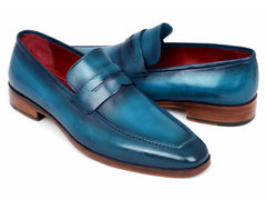 Paul Parkman Paul Parkman Men's Ocean Blue Leather Penny Loafers