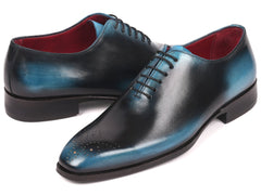 Paul Parkman Men's Wholecut Leather Oxfords, Black & Blue
