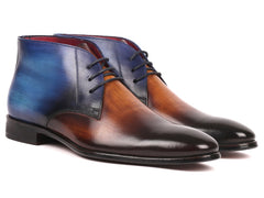 Paul Parkman Men's Brown Leather Chukka Boots, Brown & Blue