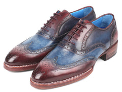 Paul Parkman Goodyear Welted Two Tone Wingtip Oxfords Blue & Bordeaux