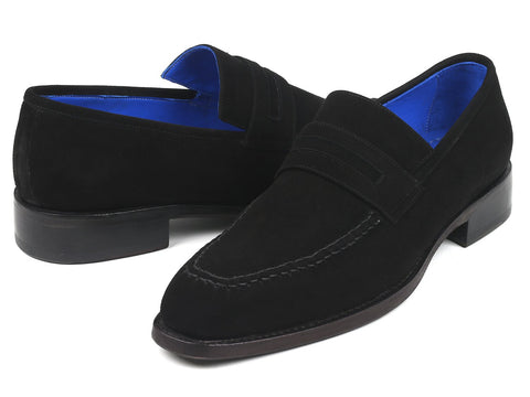 Paul Parkman Black Suede Goodyear Welted Loafers