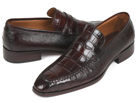 Paul Parkman Genuine Crocodile & Ostrich Brown  Penny Loafers