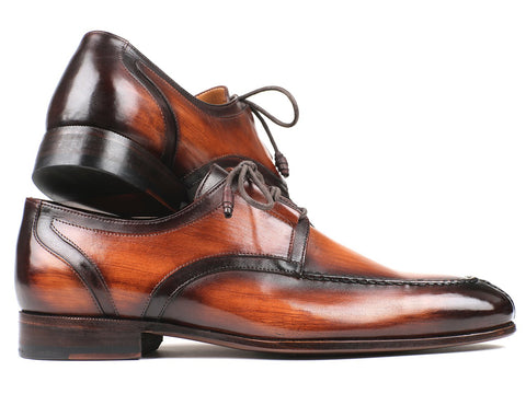 Paul Parkman Ghillie Lacing Brown Burnished Dress Shoes